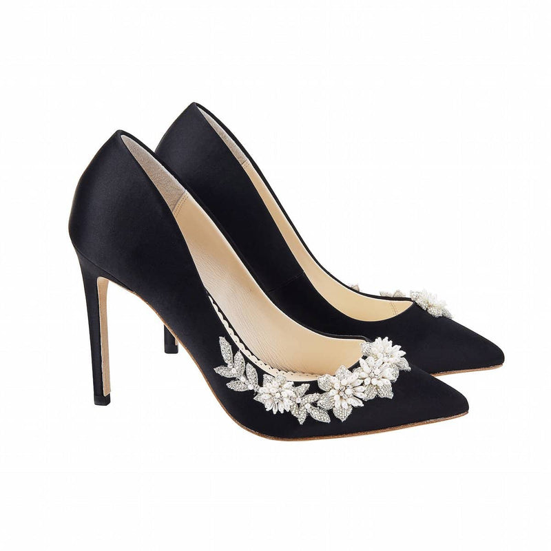bella belle jasmine floral pearl black evening pump