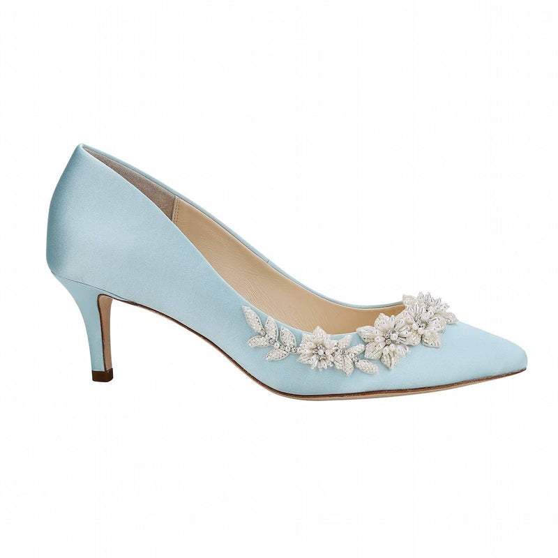 bella belle iris floral pearls and beads blue kitten heel-Side View