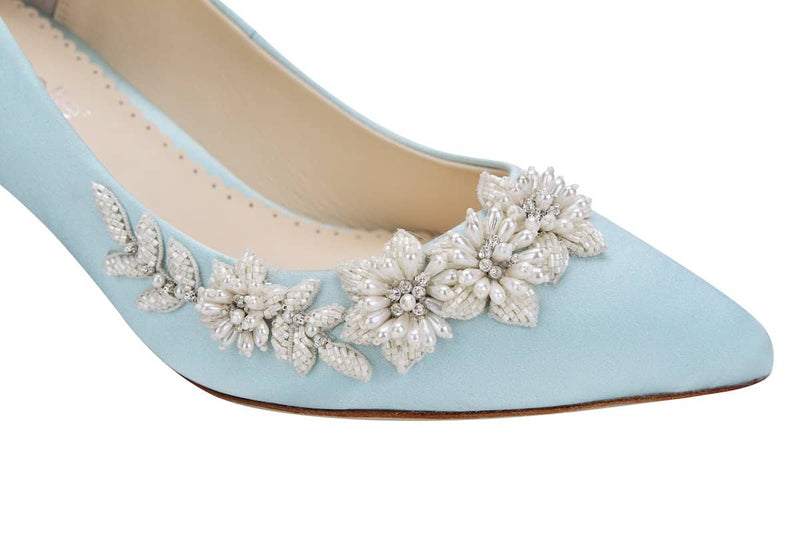 bella belle iris floral pearls and beads blue kitten heel-Design View