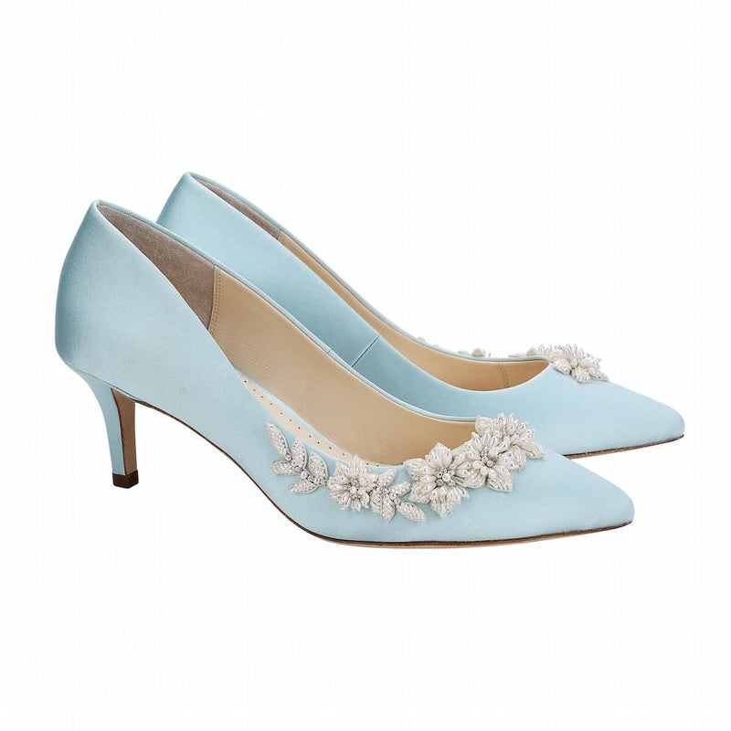 bella belle iris floral pearls and beads blue kitten heel