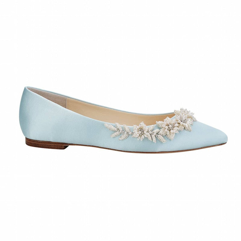 bella belle daisy floral pearls and beads blue wedding flats - Side View
