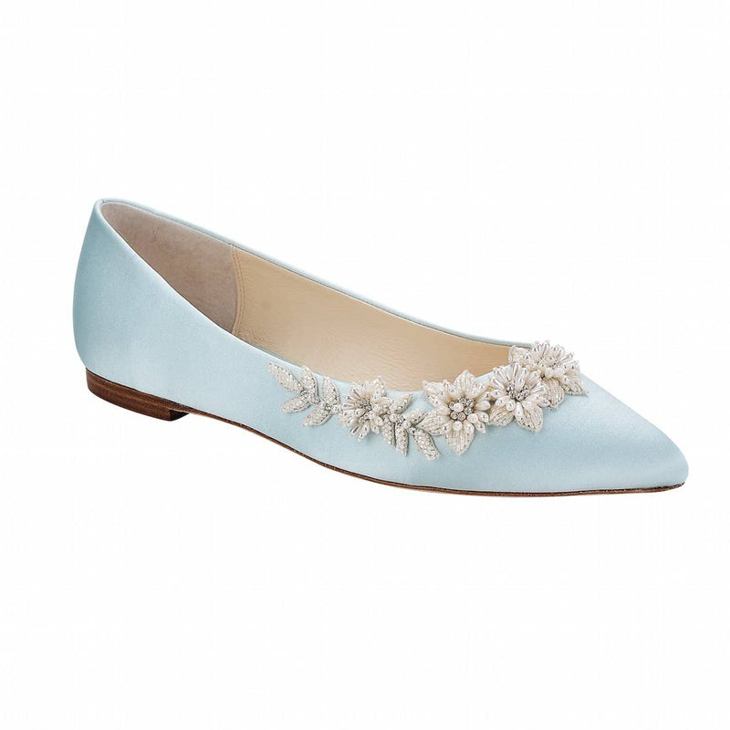 bella belle daisy floral pearls and beads blue wedding flats -Front View