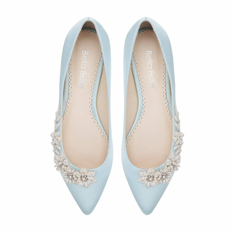bella belle daisy floral pearls and beads blue wedding flats -Top View