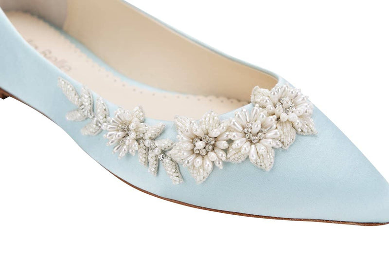 bella belle daisy floral pearls and beads blue wedding flats - Design View