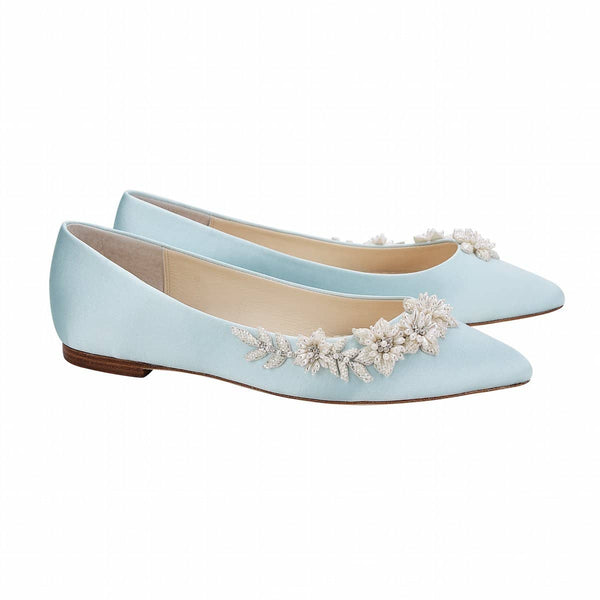 bella belle daisy floral pearls and beads blue wedding flats