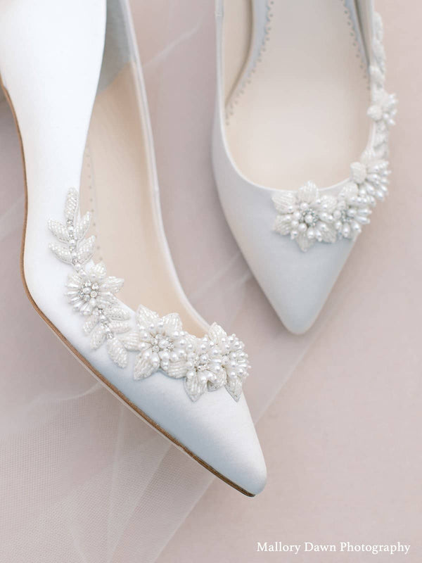 bella belle iris ivory 3D Floral Pearls And Beads Ivory Kitten Heels