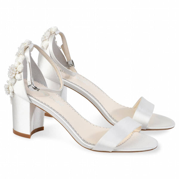 Bella Belle Fabiola 3D Floral Luminous Pearls And Ivory Beads Wedding Block Heel