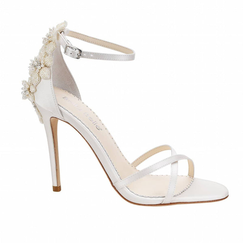 bella belle gardenia floral pearls ivory wedding shoe - Side View