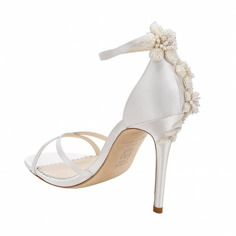 bella belle gardenia floral pearls ivory wedding shoe -Left View