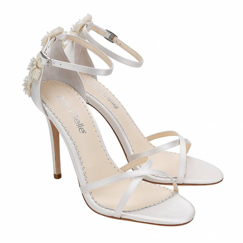 bella belle gardenia floral pearls ivory wedding shoe