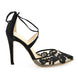 Bella Belle Anita Black lace floral evening shoes -Side View