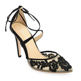 Bella Belle Anita Black lace floral evening shoes -Right View