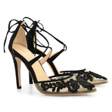 Bella Belle Anita Black lace floral evening shoes