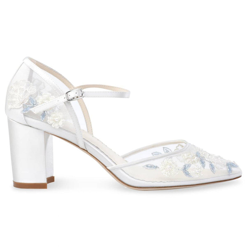 Bella Belle Vivian Baby Blue Floral Lace Ivory Wedding Block Heel