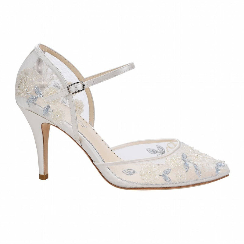 bella belle viola baby blue floral lace wedding shoe - Side View