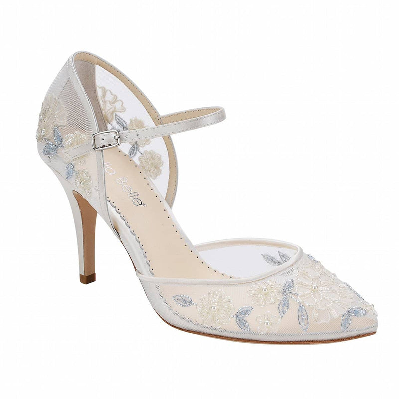 bella belle viola baby blue floral lace wedding shoe - Single Pair