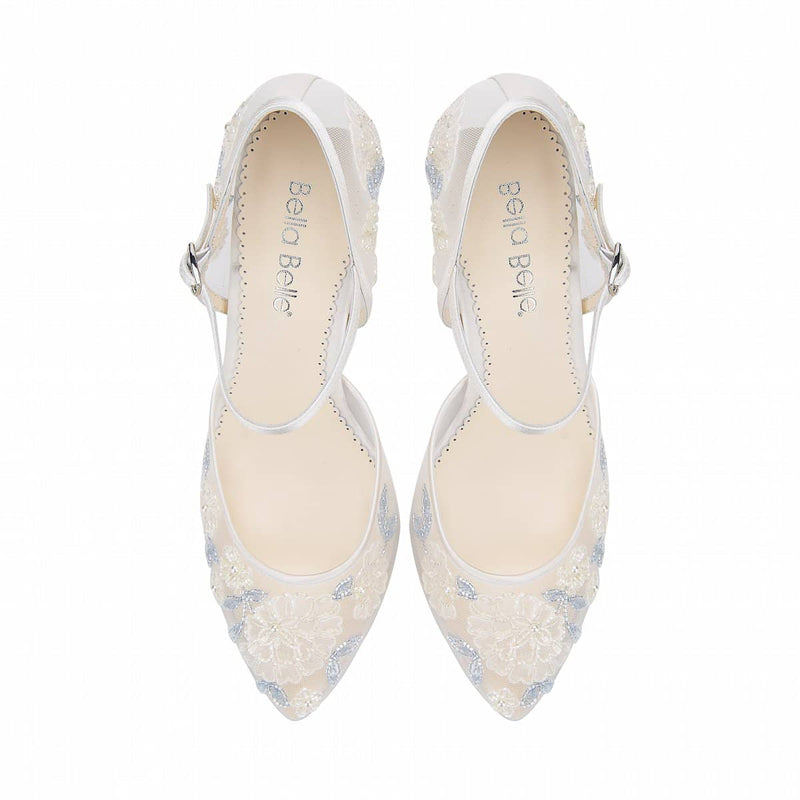 bella belle viola baby blue floral lace wedding shoe - Front View