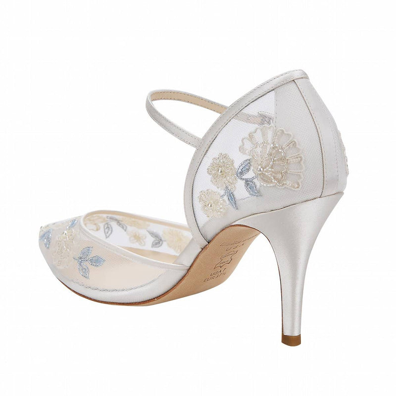 bella belle viola baby blue floral lace wedding shoe - Back View