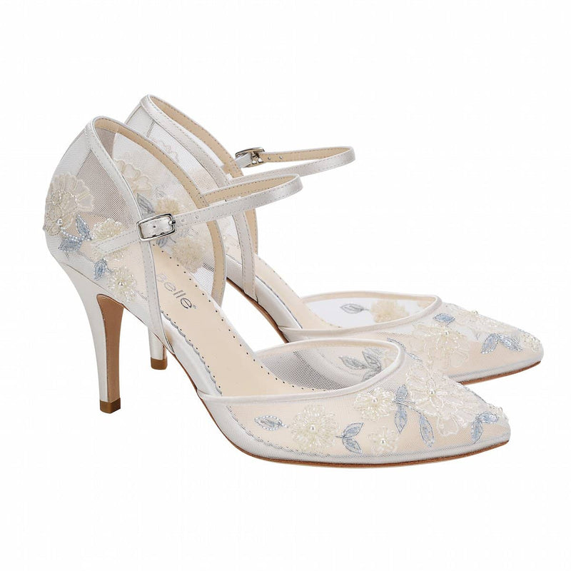 Viola Baby Blue Floral Lace Ivory