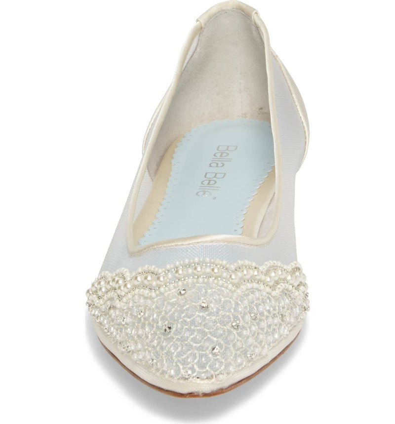 Hailey white wedding flat - Single Pair