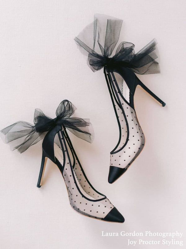 Swiss Dot Cap Toe Pump with Tulle Bow Matilda Black Bella Belle