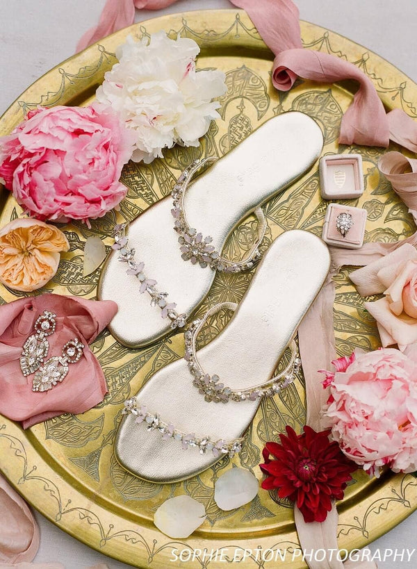Jules jeweled wedding sandal editorial - Top View