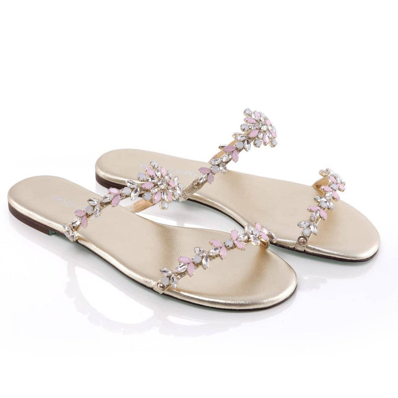 jeweled flower comfortable dressy sandals beach garden casual wedding something blue