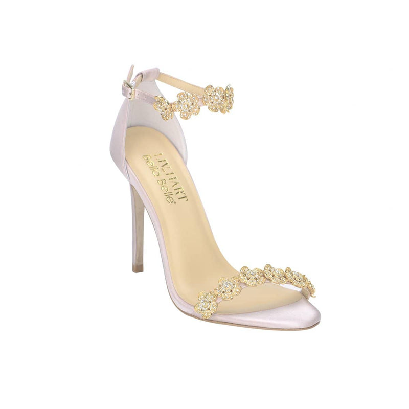 Bella Belle Blush Ankle Strap With Bow and Jewels Occasion Heel - Mariee by Liv Hart