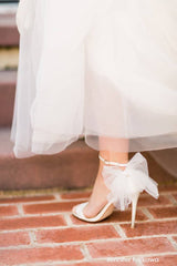 Ivory Wedding Shoes With Bow Tulle