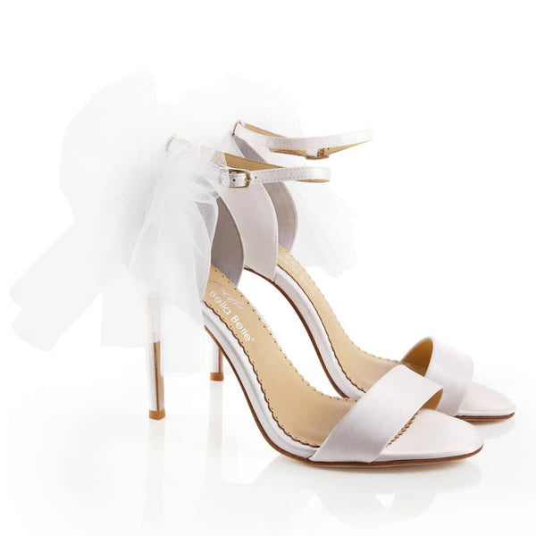 Bella Belle Comfortable tulle bow silk satin romantic bridal shoes