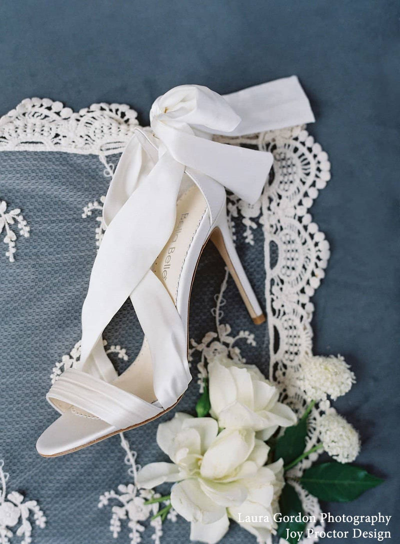 bella belle kate criss cross silk and ivory bow wedding heel