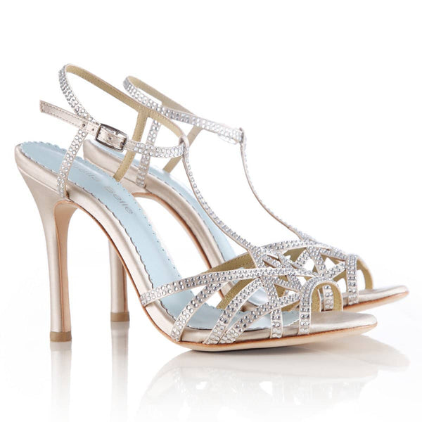 Evening Shoes Champagne Crystal Strappy Comfortable Heels