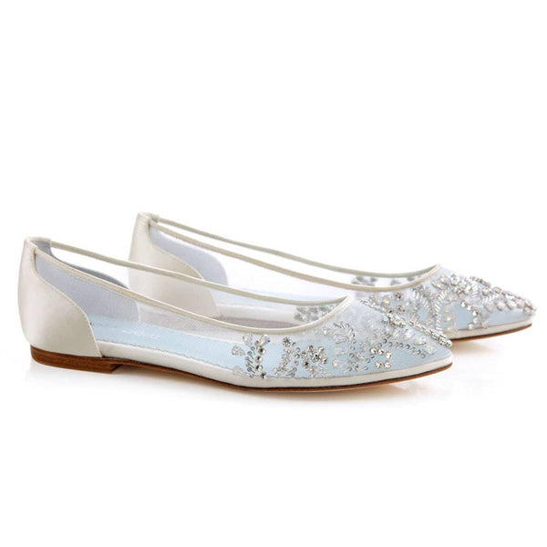 comfortable crystal embellished glamour illusion bridal flats