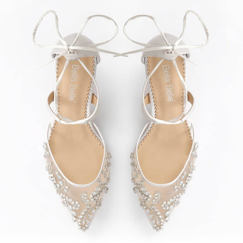 Bella Belle Frances Crystal Embellished Ivory Wedding Kitten Heels