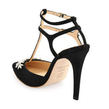 Bella Belle Paige Crystal T-strap Black Evening Shoes