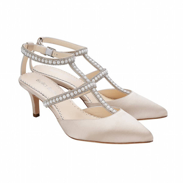 Bella Belle Courtney Silver Crystals and Pearl T-Strap Champagne Kitten Heel