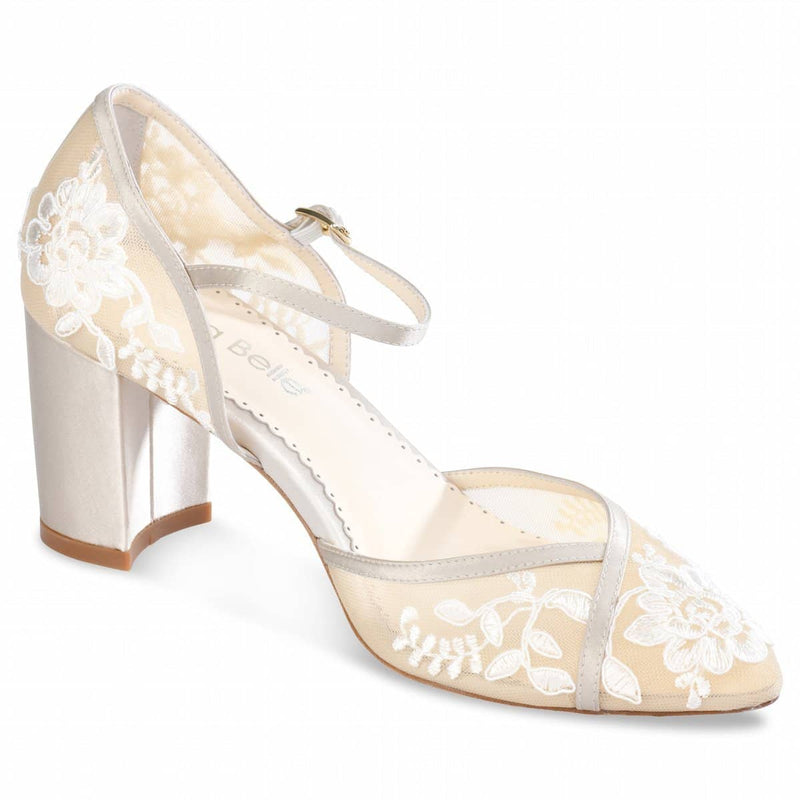 Bella Belle Chelsea D'Orsay Nude Lace Wedding Block Heel