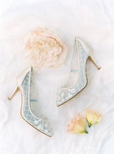 Cora floral wedding heels editorial