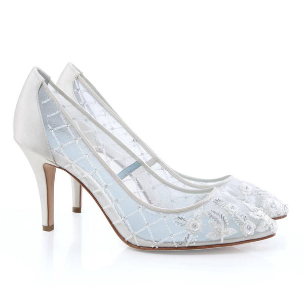 embroidered beaded floral criss cross comfortable ivory wedding shoes