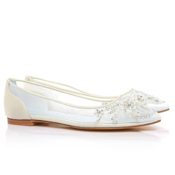 Floral Beaded Comfortable Boho Wedding Flats