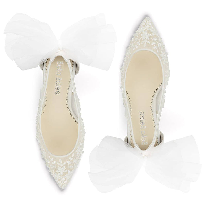 Floral Beaded Lace Wedding Heel with Tulle Bow - Edna Ivory Bella Belle