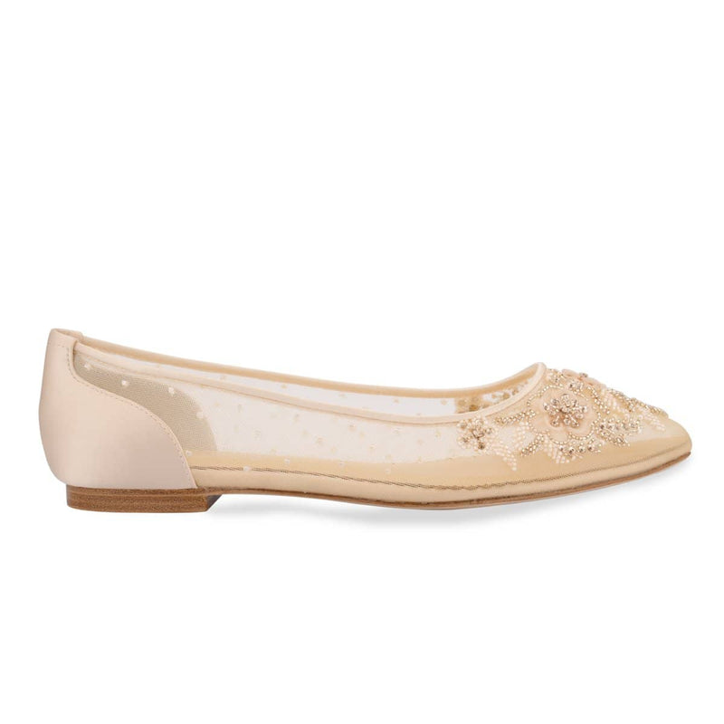Bella Belle Adora Blush Floral Beaded Wedding / Evening Flats