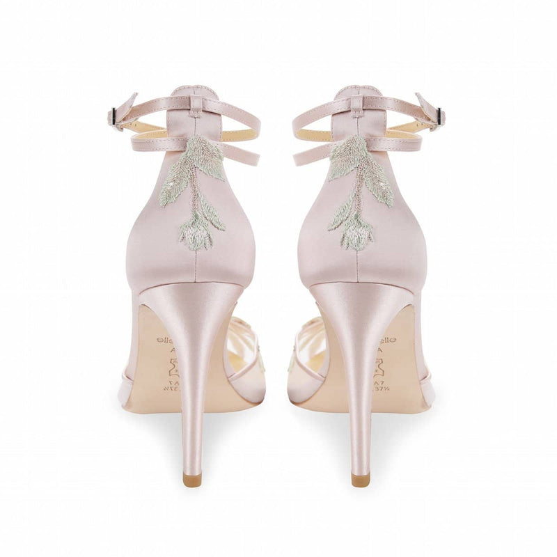 Blush Wedding Heel with Rose Gold Floral Embroidery  - Flora By Claire Pettibone