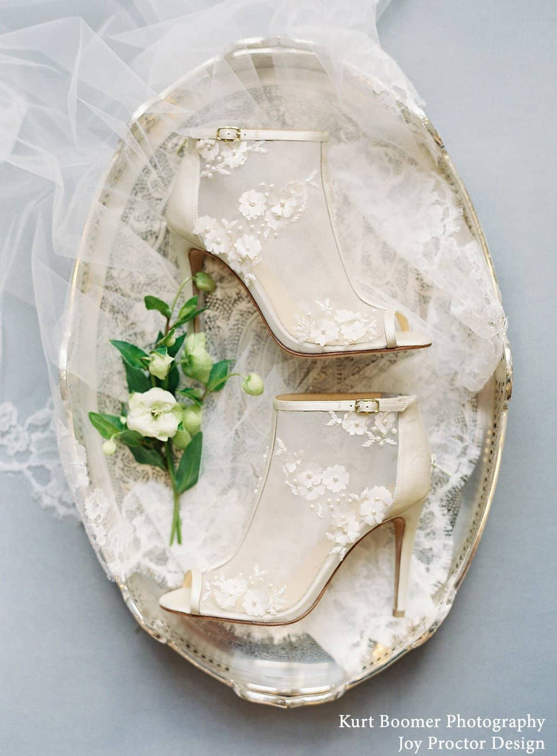 Bella Belle Belle flower chiffon wedding booties by joy proctor