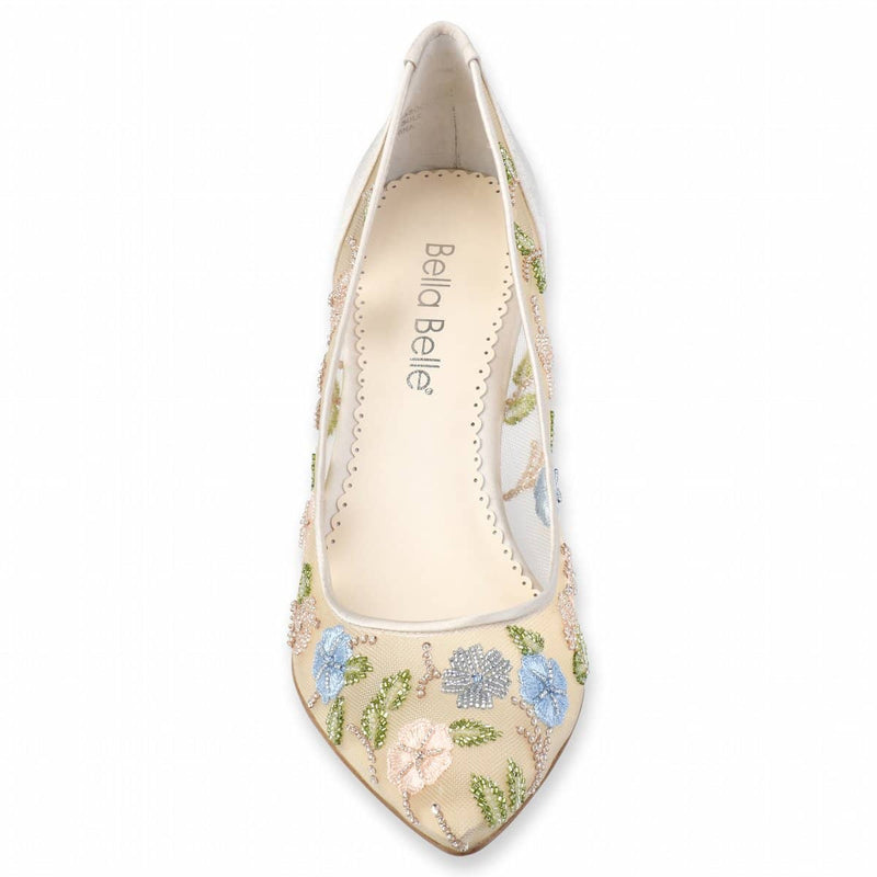 Bella Belle Sierra Flower Embellished Embroidered Kitten Heels