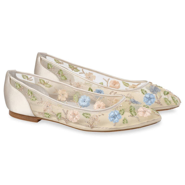 Bella Belle Pippa Flower Embellished Embroidered Wedding Flats