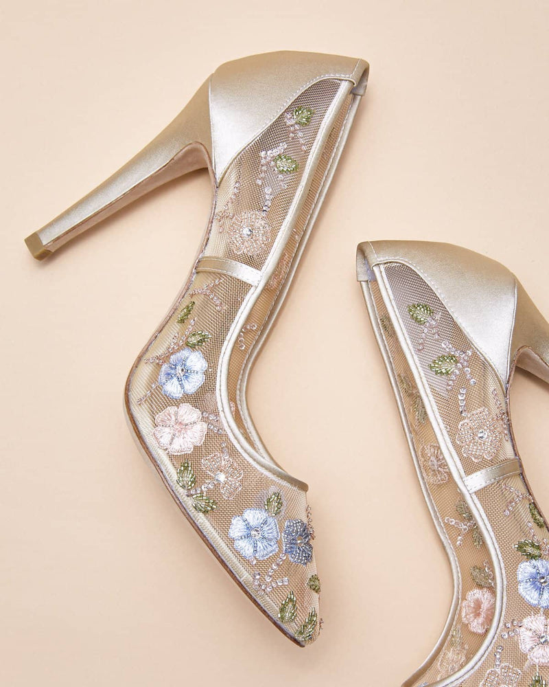 Bella Belle Chloe Flower Embellished Embroidered Heels