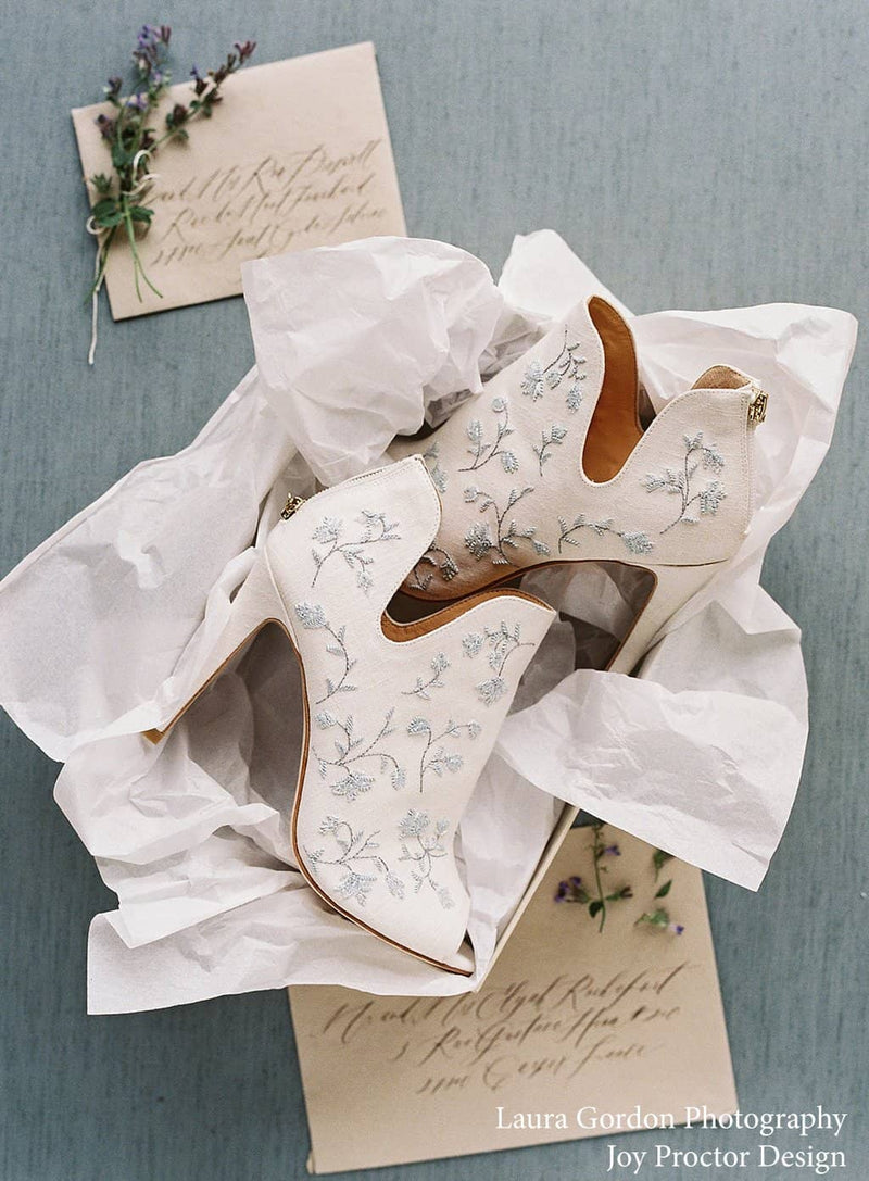 blue embroidered wedding booties by joy proctor