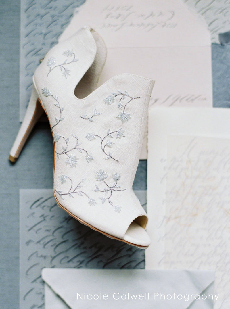 Bella Belle Peony Blue Embroidered Wedding Booties