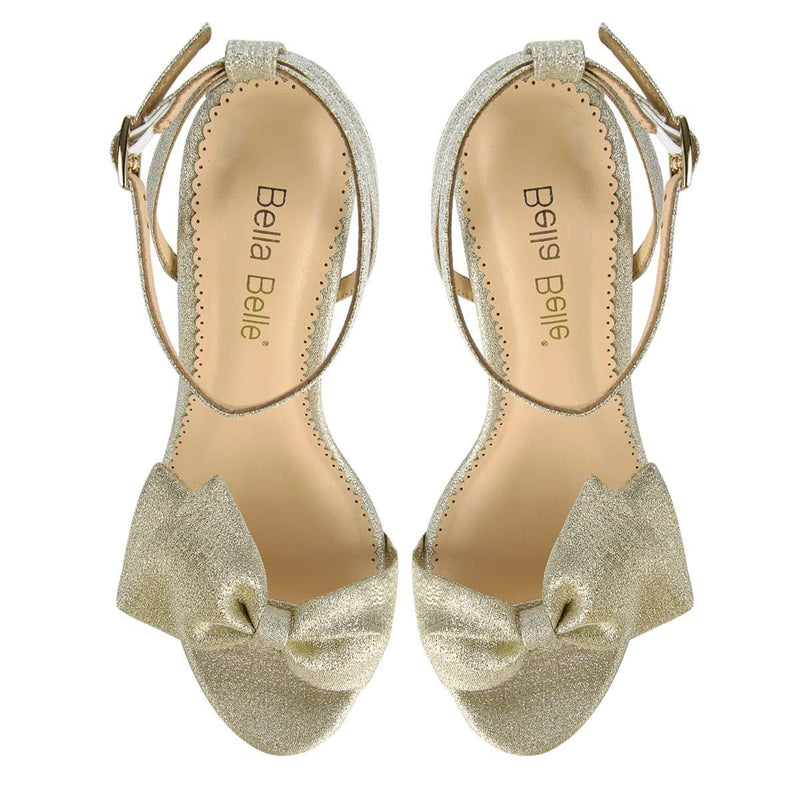 Bella Belle Aubrey Gold Bow Evening Shoes